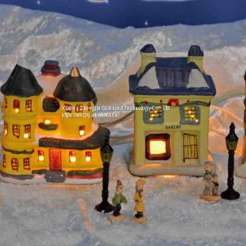 Snow village with lighting -17pcs Play Snowman Polyresin Christmas House Decoration