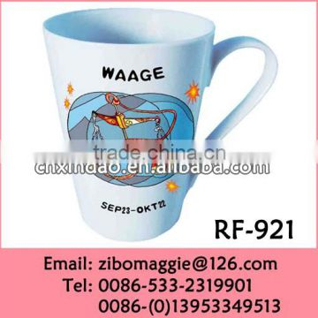 Conic Wholesale Promotional Coffee Cup with Zodiac Design for Used Porcelain Cups