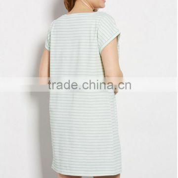 Wholesale Cheap Sexy Striped Women Large Size Cotton Spandex Knit Jersey Sleeping Night Gown