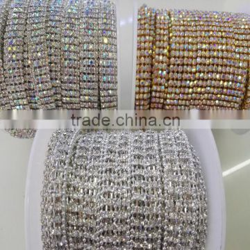 2016 New Arrived Silver Gold AB Color Acrylic Rhinestone Trimming Hot Fix Cup Chain for Shoe Dress Wedding Garment