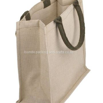 Promotional mini burlap wedding favor jute tote bags with clear plastic pocket