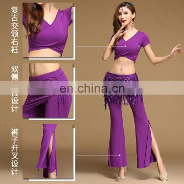 T-5170 New factory performance belly dance wear 2pcs top and pant set