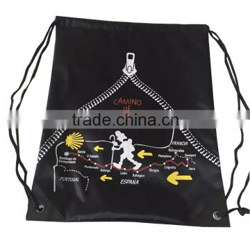Custom 210D Polyester Drawstring Backpack With full coverage Printed Logo