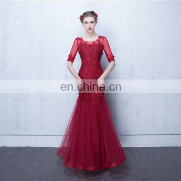 2017 New Arrival Sexy Red Appliqued Beaded Scoop Floor Length 1/2 Sleeve Lace-up Hollow Evening Dresses