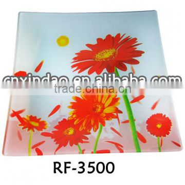 Sqaure Shape Clear Wholesale Flower Designed Oversized Glass Decorative Plate for Gift