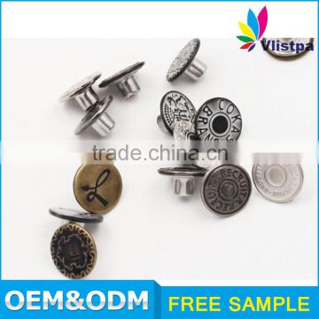 wholesale custom made metal tack jeans button