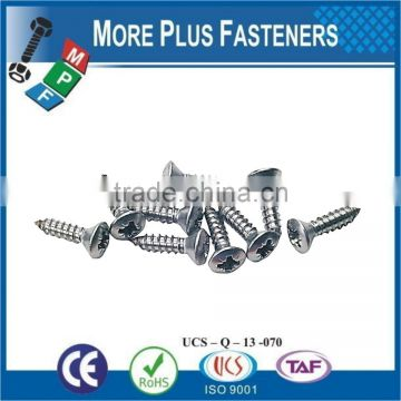 Made in Taiwan Phillips Recess Oval Countersunk Head Tapping Screw