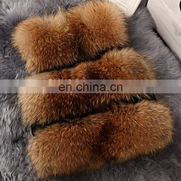 Latest style real raccoon fur vest natural color lady fur gilet