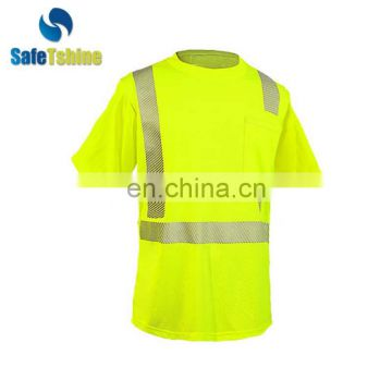 Simple style protective convenient 100% polyester safety t-shirt