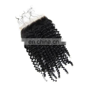Qingdao WHOLESALE PRICE 100% brazilian human virgin 9A FREE PART hair lace closure in kinky curly cuticle aligned hair