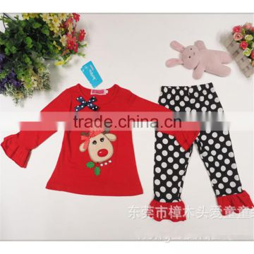Kids Holiday Clothing Set Baby Girls Ruffle Pant Outfit baby girls Christmas cotton autumn clothes set for christmas TR-CA16