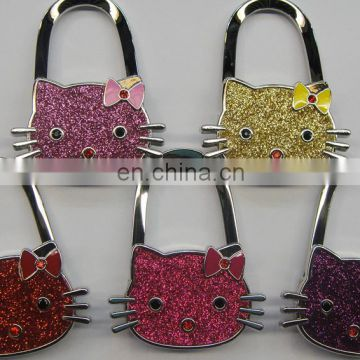 Unique Cute Cartoon Hello Kitty Metal bag hanger/purse hook, mix color cheap cat glittle silver metal purse hanger for table