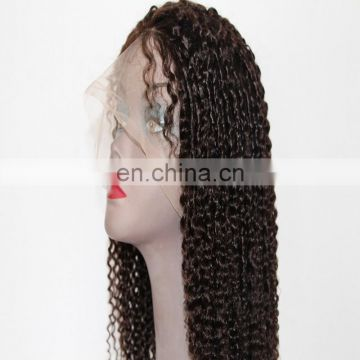 Swiss lace kinky curly wave style brown color human hair full lace wigs with remy brazilian hair wholesale price