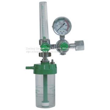 Float-Type Medical Oxygen Regulator W/ O2 Humidifier for Oxygen Cylinders