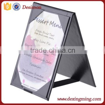 High quality pu leather flip restaurant menu board with pen holder