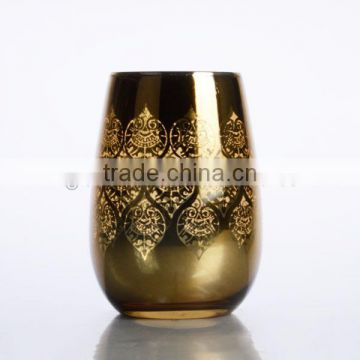 new design electroplating golden color glass tumbler stemless wine glass