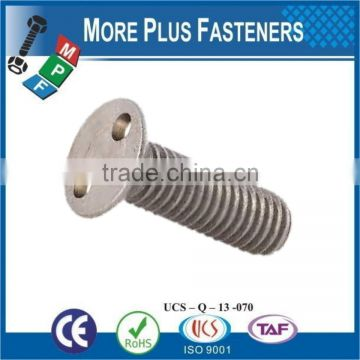 Made in Taiwan Countersunk Head Flat Head Stainless Steel Countersunk Head 2 Holes Snake Eye Security Screw