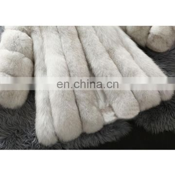 White color luxury real fox fur coat round collar fur loose coat
