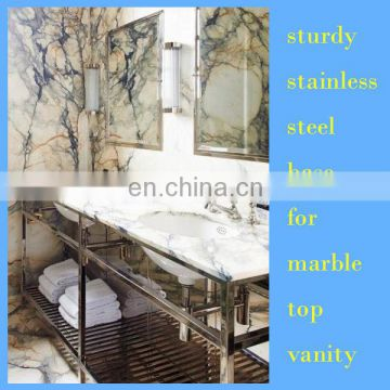 brushed satin stainless steel vanity console for hotel, inn, resort bathroom