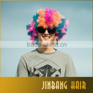 Cosplay Wigs Afro wig boys set type hat , yellow, blue, orange colorful hair party wig fans wigs