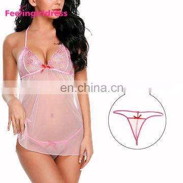 Hot Red Bowknot Detail Mesh Sexy Women Lingerie
