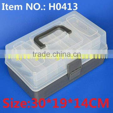 H0413 30*19*14CM Two Trays Plastic Box Fishing Box 6 compartments plastic fishing tackle box
