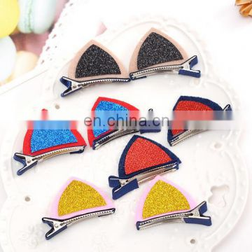 Toddler Glitter Ears Hair Clips Baby Alligator Hair Clip Felt Snap For Girl Photo Prop