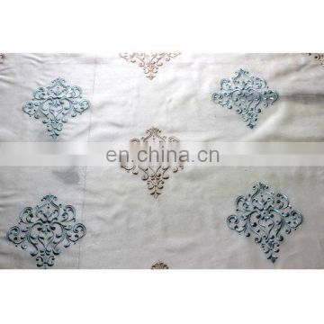 Sea Green And Beige Damask Embroidered