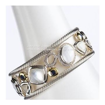 High Quality DY Inspired Sterling Silver Moonstone White Oval Mosaic Cuff Bracelet