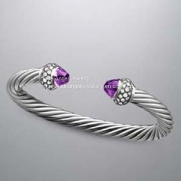 7mm Cable Sterling Silver 925 DY Moonlight Ice Bracelet Amethyt
