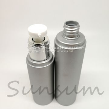 Matt silver skin care plastic lotion pump bottles for lotion cream use