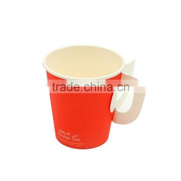 custom prinded 7oz drinking hot caffee paper cups with handle