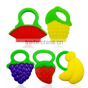 100% Food Grade Soft Fruit Shape Silicone Baby Teether / Baby Teething Necklace for Biting