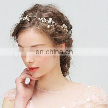 Amelie Regal Bridal Bridesmaid Tiara Headband Rose Porcelain Blossom Rhinestone Chain Opal Hair Vine Hair Pin Accessory
