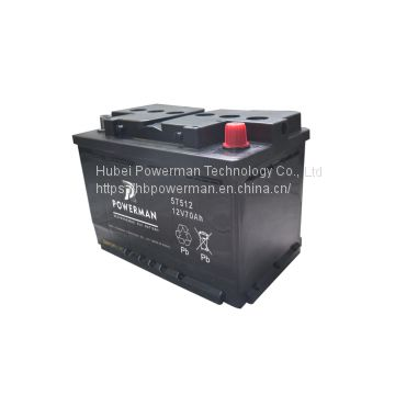 Powerman 12V 70Ah Lead Acid Portable maintenance free car battery for starting from chinese suppliers or manufacturers