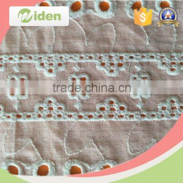 Factory direct wholesale embroidery floral figures plain white cotton fabric                                                                                                         Supplier's Choice