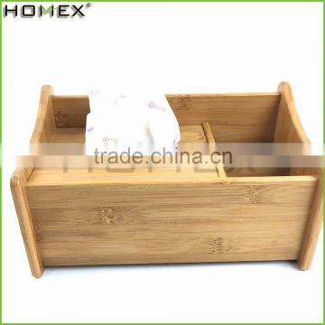 Bamboo Napkin Holder and Tissue Holder Box with Storage/Homex_FSC/BSCI Factory