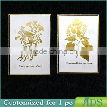 Framed handmade canvas oil painting with gold leaf forest for home decoration