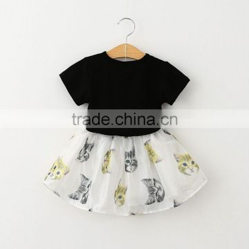 2016 summer children's clothing sets 3 d cartoon cat printed t shirt and skirt twinsets