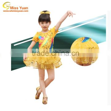 China manufacturer yellow sequins kids ballet dance costumes
