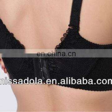 lady's hot underwear black pushing up brassiere boyshort pantie bra set