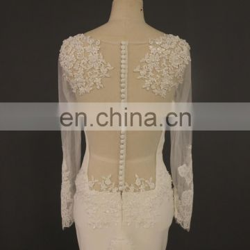 2017 Expo Latest Design Long Sleeve Sexy Back Mermaid Bridal Dress Long Lace Train Tiamero 1A1154