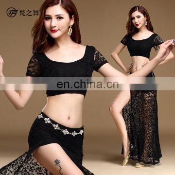 T-5129 Unique designed sexy lace women belly dance costume with top and belt and skirt