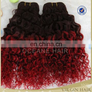 Full cuticle brazilian deep curly ombre hair weave in China