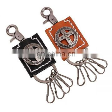 China genuine leather keychain custom carabiner keychain