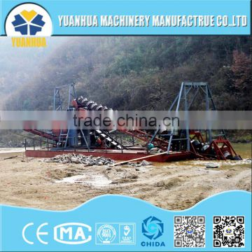 gold dredger equipped with sieving machine and discharge pump