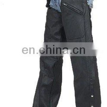 HMB-334A MEN LEATHER CHAPS ZIPPER STYLE CHAP BLACK