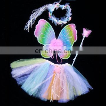 Hot sale baby girl fairy dress with butterfly wings Feather Butterfly Wing Set