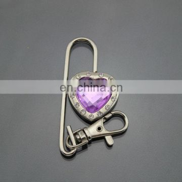 Crystal purse bag hanger hook with key chain