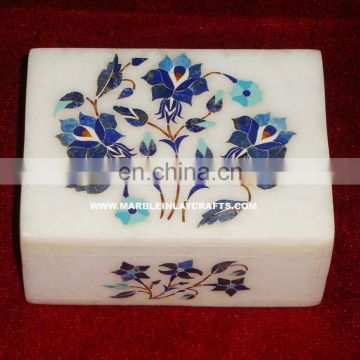 Lapiz Lazuli Alabaster Marble Inlay Jewelry Box